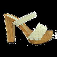 Кожаные сабо на каблуке (белый)