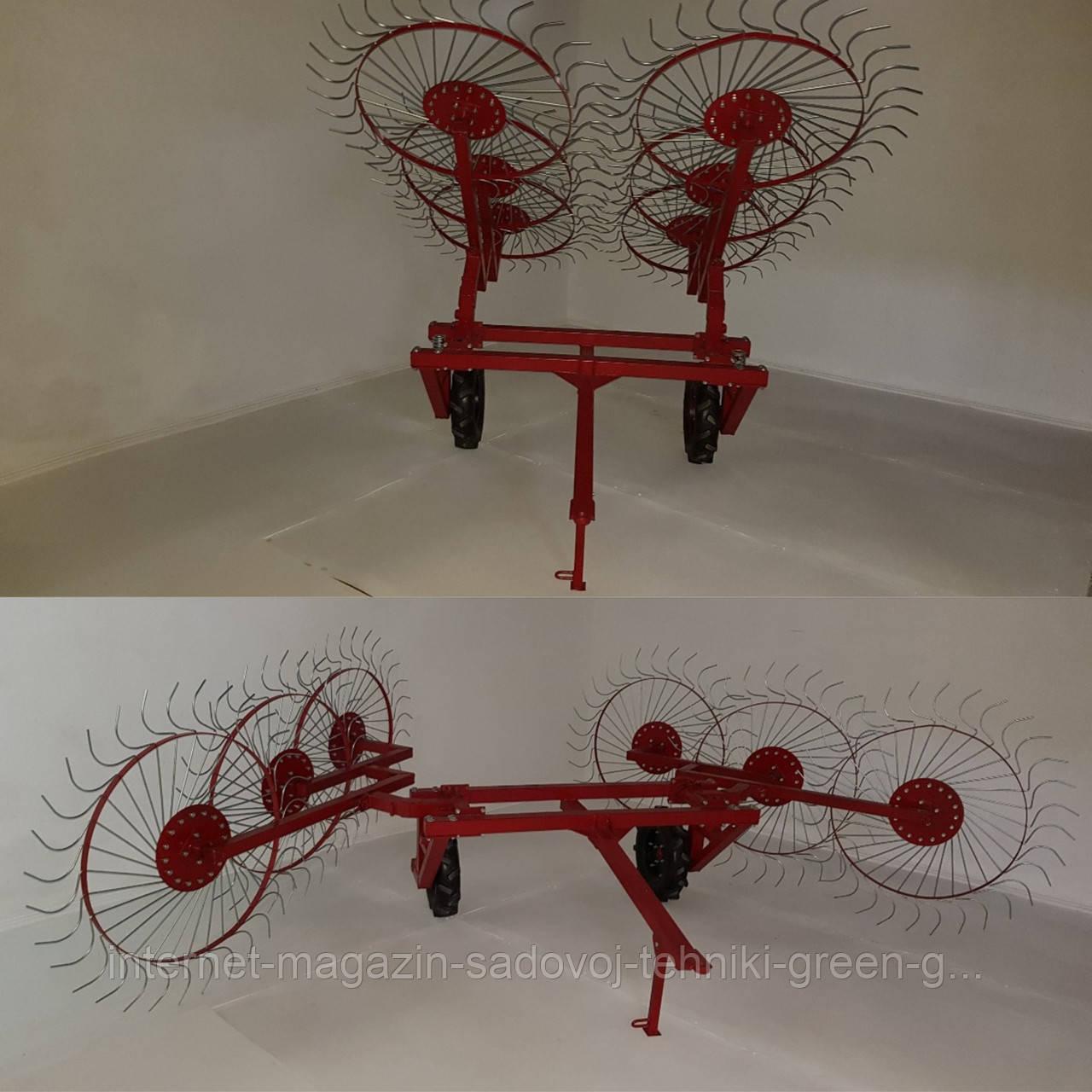 Грабли усиленные Солнышко 6 (шестирядные) для мототрактора, минитрактора, трактора