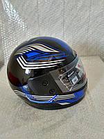 Шлем для скутера  черный глянцевый с сине-серыми узорами F2, размер М(57-58)