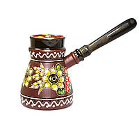 """Глиняная турка с декором """"Украинский стиль"""" 500 мл"""