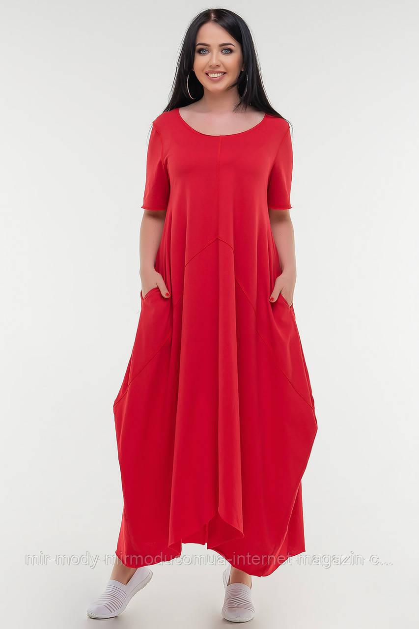 Летнее платье трапеция красного цвета купить в Украине (3 цвета) с 50 по 54 размер  (влн)