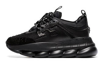 Женские кроссовки Versace Chain Reaction 2 Chainz (Premium-class) черные