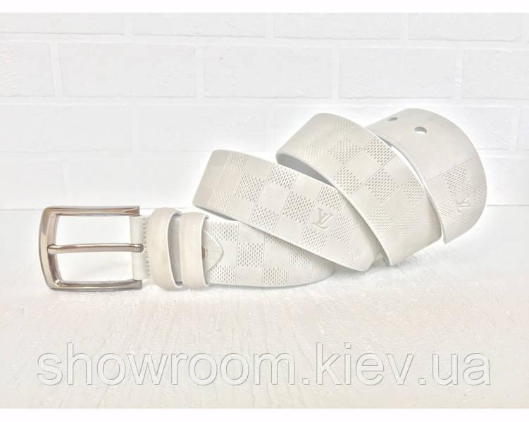 Мужской кожаный ремень LV (3001) белый