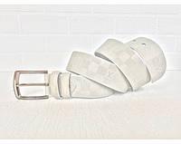 Мужской кожаный ремень LV (3001) белый, фото 1