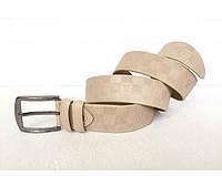 Мужской кожаный ремень LV (3001) бежевый, фото 1