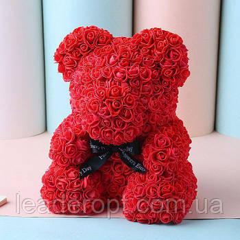 [ОПТ] Ведмедик з 3D троянд 40см в Коробці (Червоний)