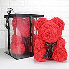 [ОПТ] Ведмедик з 3D троянд 40см в Коробці (Червоний), фото 4