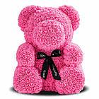 [ОПТ] Ведмедик з 3D троянд 40см в Коробці (Червоний), фото 6
