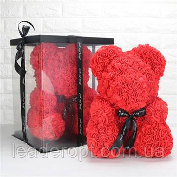 [ОПТ] Ведмедик з 3D троянд 25см у Коробці (Червоний)