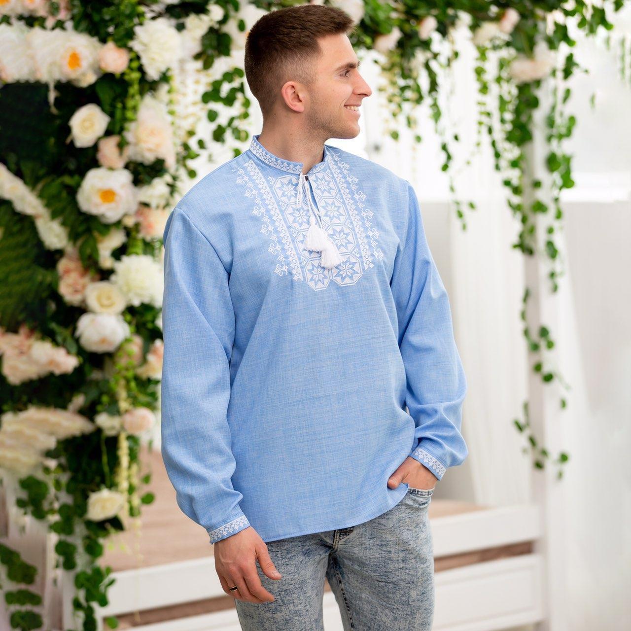 Вышитая сорочка для мужчин (джинс) с белой вышивкой