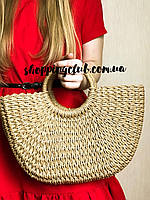 Соломенная сумка из рафии плетеная