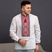 Вышиванка - оберег  для мужчин с красной геометрической вышивкой
