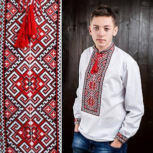 Вышиванка - оберег  для мужчин с красной геометрической вышивкой, фото 2