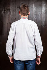 Вышиванка - оберег  для мужчин с красной геометрической вышивкой, фото 3