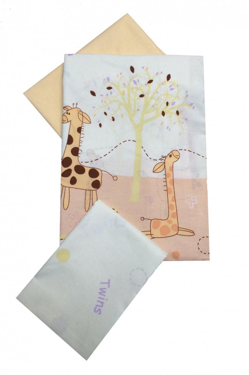 Сменная постель Twins Comfort C-024 жирафы (пододеяльник,наволочка,простынь)