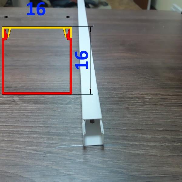 Короб для открытой проводки 16 мм х 16 мм длина 2,0 м Белый