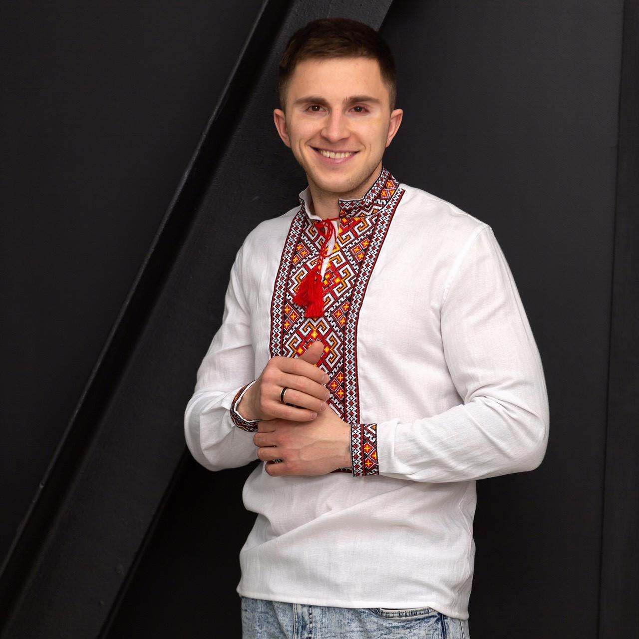 Мужская вышиванка Мирослав с длинным рукавом