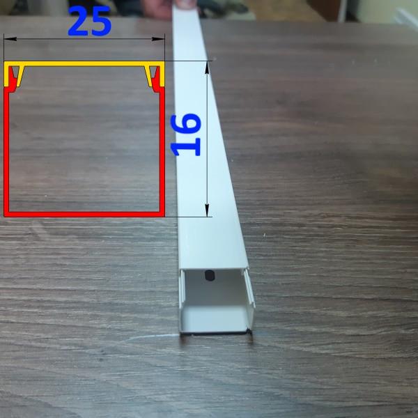 Короб стеновой для проводки 25 мм х 16 мм длина 2,0 м Белый