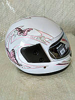 Шлем для скутера женский белый  F2, размер S(55-56)