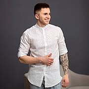 Мужская белая льняная вышиванка с белой вышивкой