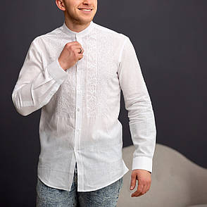 Мужская белая льняная вышиванка с белой вышивкой, фото 2