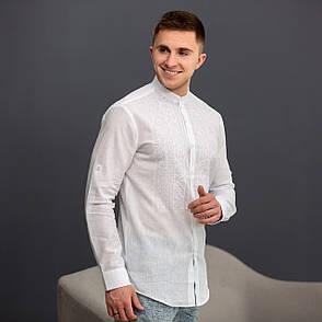 Чоловіча біла лляна вишиванка з білою вишивкою, фото 2