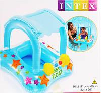 Детский надувной круг плотик с навесом от солнца Intex 56581: размер 81х66см