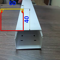 Декоративный кабельный канал 60 мм х 40 мм длина 2,0 м Белый