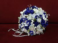 Свадебный букет-дублер из орхидей белый с синим