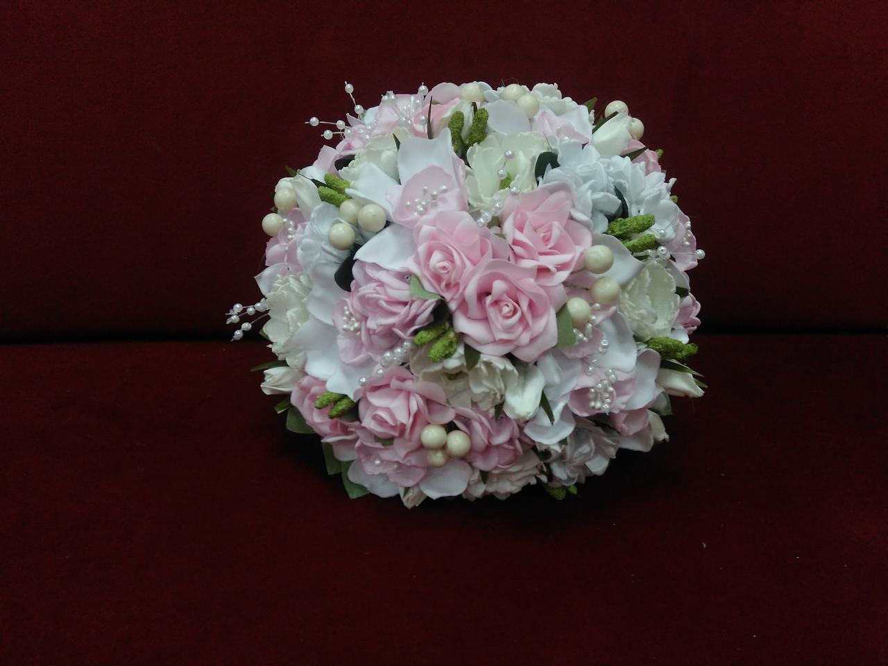 Свадебный букет-дублер из орхидей розовый с белым и айвори