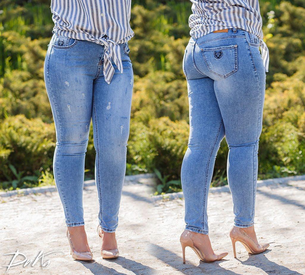 Стильные женские стрейчевые тертые джинсы  БАТАЛ  31-34р.