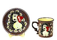 """Посудка детская с рисунком из глины """"Ёжик с сердечком"""" 2 предмета, ручная работа"""