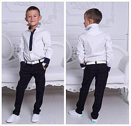 """Рубашка """"Галстук"""" белая для мальчика длинный рукав рост 122-152."""