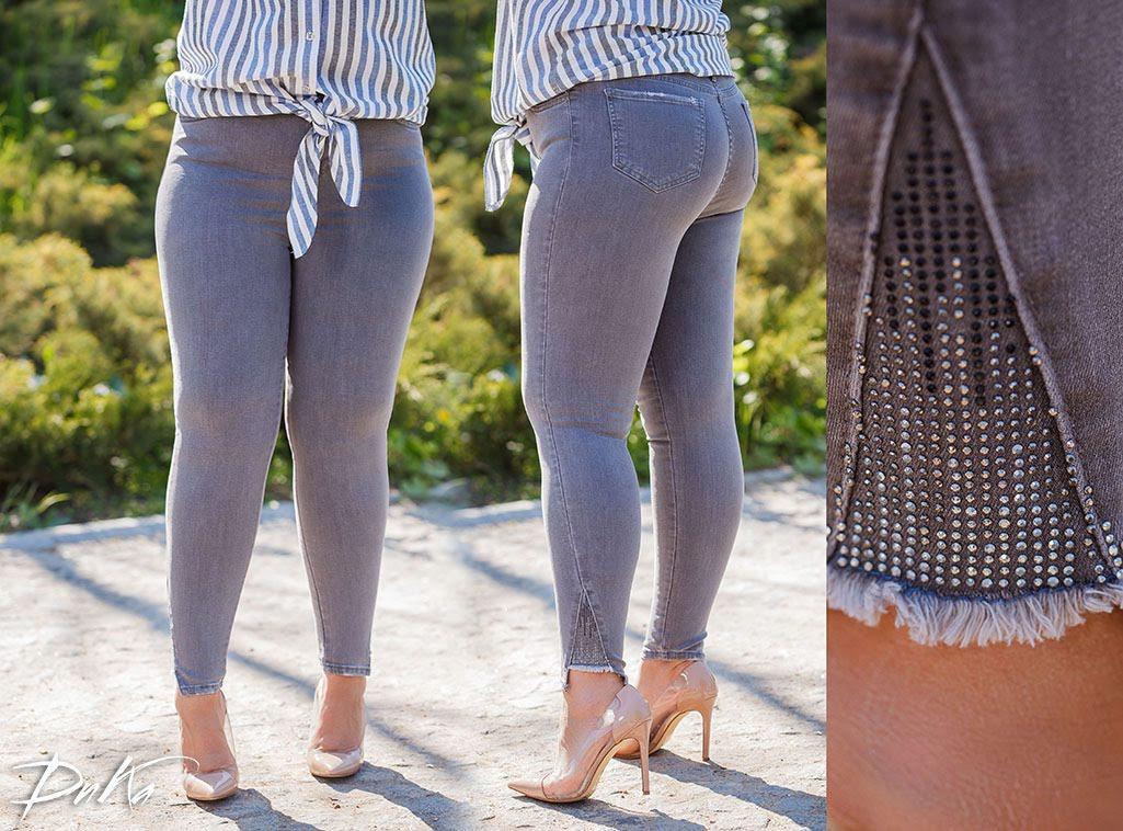 Стильные женские серые стрейчевые джинсы  БАТАЛ  28-31р.