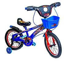 """Детский велосипед Disney Spiderman 16"""", с музыкой и подсветкой, синий"""