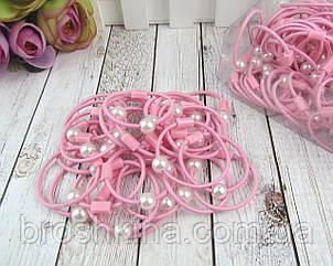 Маленькие тонкие резиночки для волос с жемчугом розовые d 3,5 см 100 шт/уп.