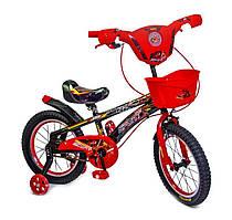 """Детский велосипед Disney Spiderman 16"""", с музыкой и подсветкой, красный"""
