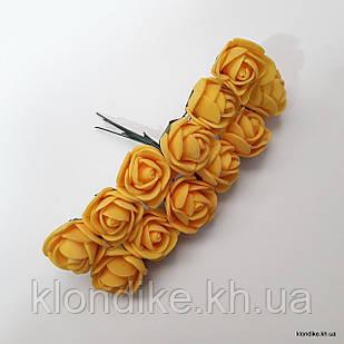 Букет искусственных роз, Цвет: Темно-желтый