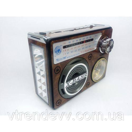 Радиоприёмник портативная колонка MP3 USB Golon RX-722LED Коричневый