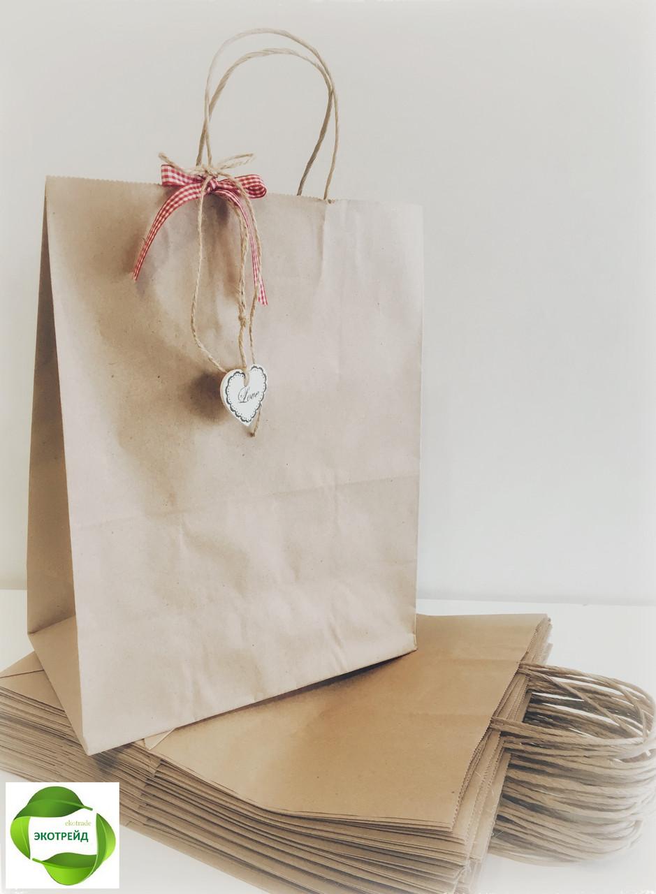 Крафт пакет с ручками для товаров на вынос 320*150*380 бурый, фото 1
