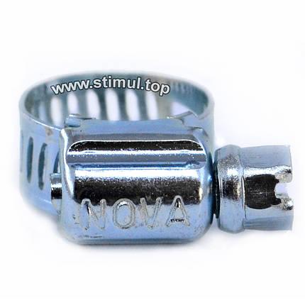 Хомут червячный Nova 16-25 мм (50 шт/уп) обжимной для шлангов, фото 2