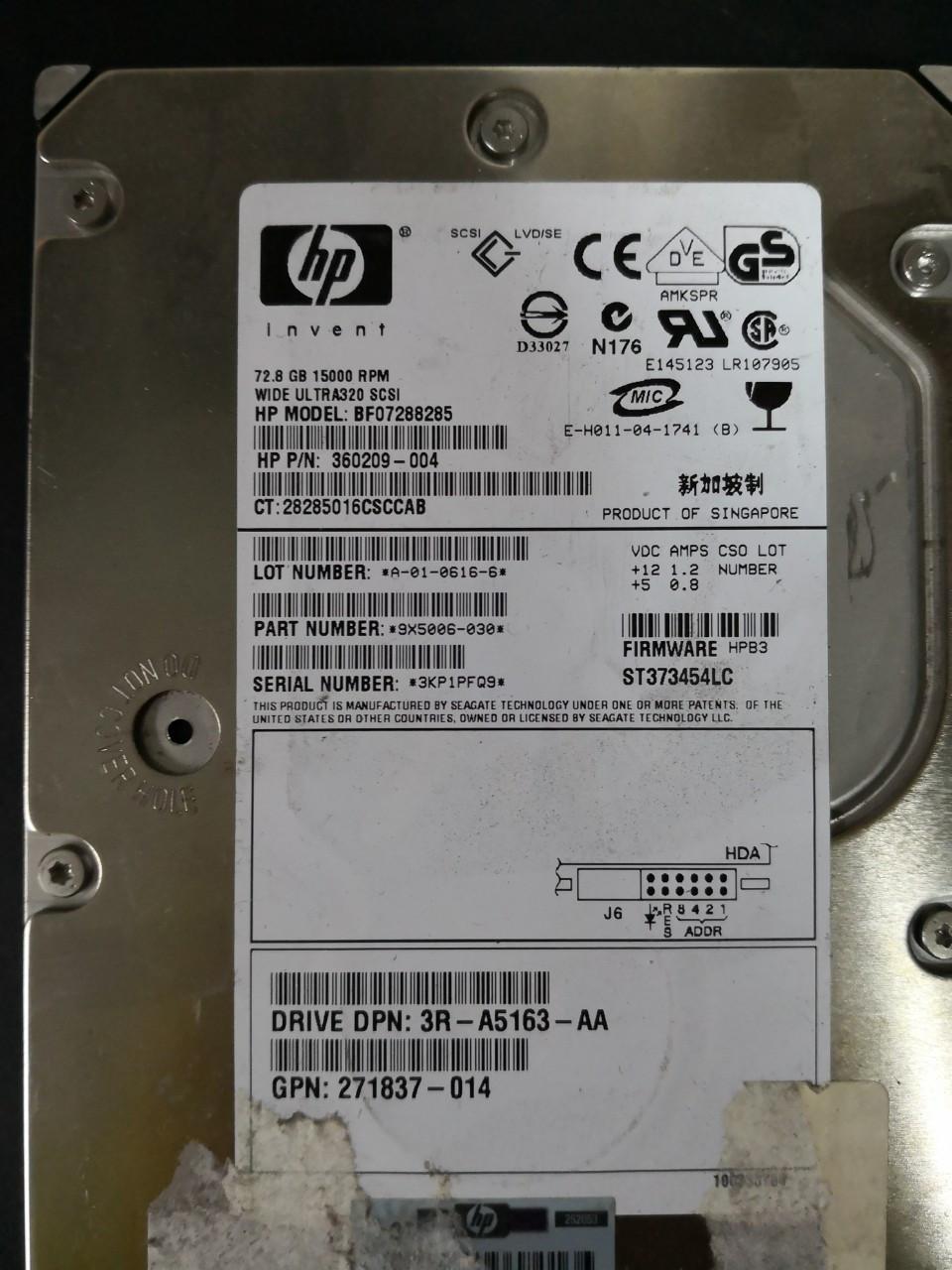 "Жесткий диск HP BF07288285 72.8 Gb 15000 rpm SCSI 3.5"" HDD бу"