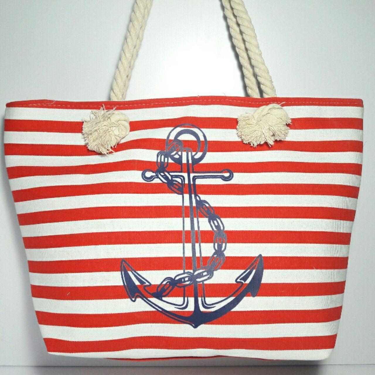 Пляжная сумка Полоса с якорем