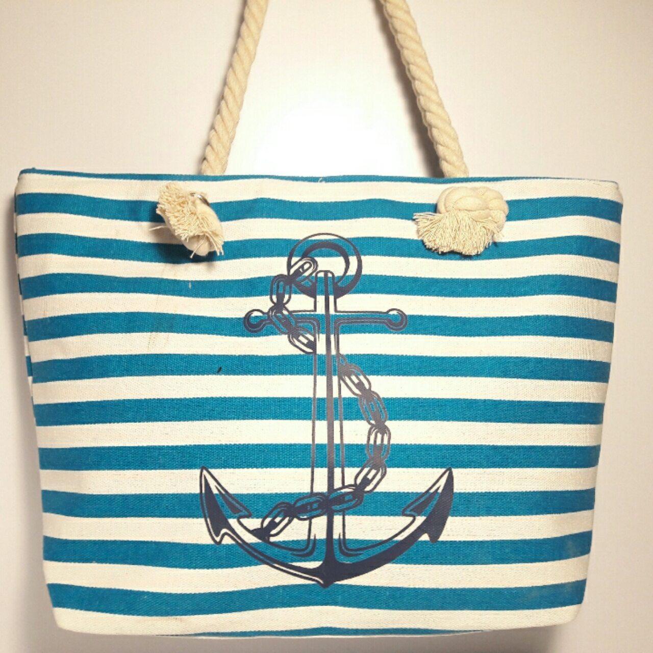 Пляжна сумка текстильна Смуга з якорем