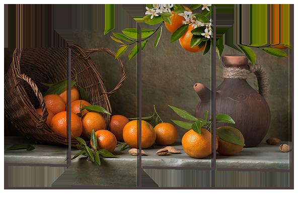 Модульная картина Interno Искусственный холст Апельсины натюрморт 94x61см (Z679S)