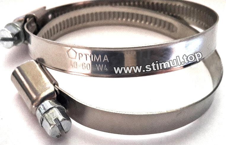 W4 / Хомут нержавеющий 16-25 мм червячный Optima / Черв'ячний хомут для шлангів