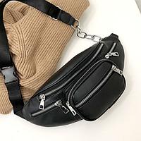 Сумка на пояс женская и мужская, бананка, поясная сумка черная