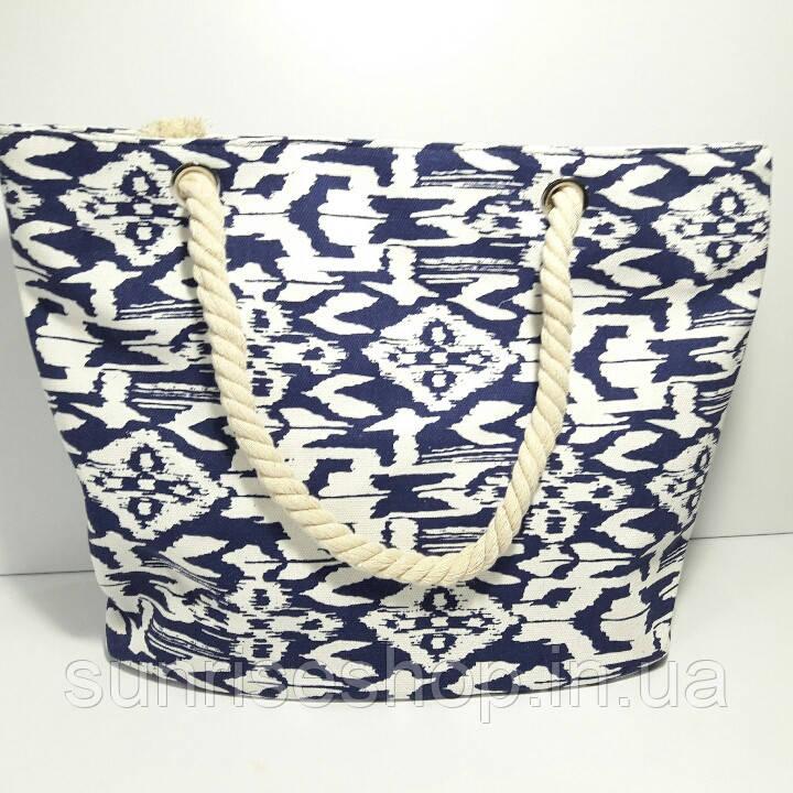 Сумка текстильная летняя для пляжа и прогулок абстракция синяя