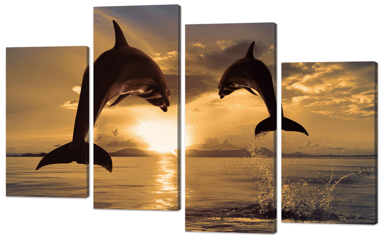 Модульная картина Interno Искусственный холст Дельфины на закате 94x61см (Z680S)