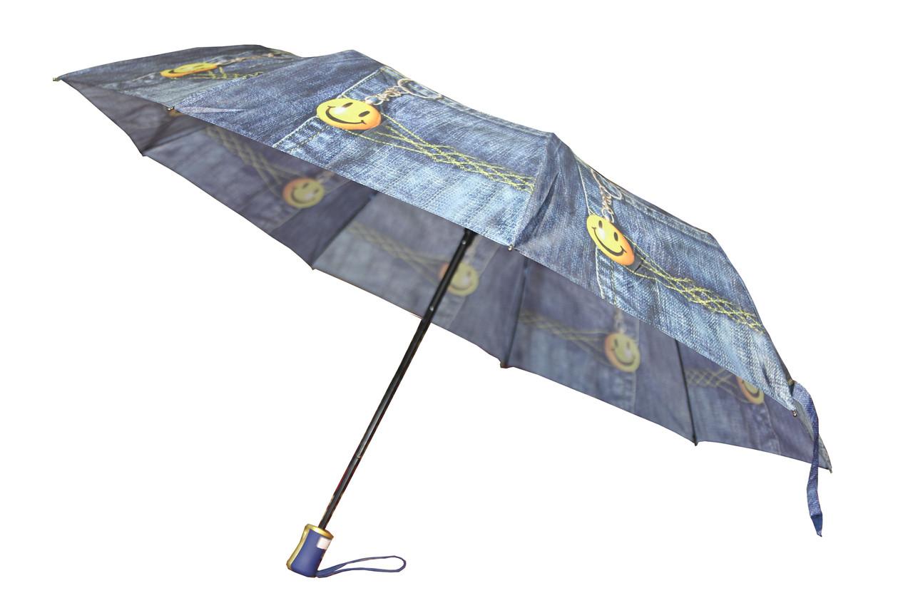 Складный зонт полуавтомат на 9 спиц с рисунком джинс со смайликом